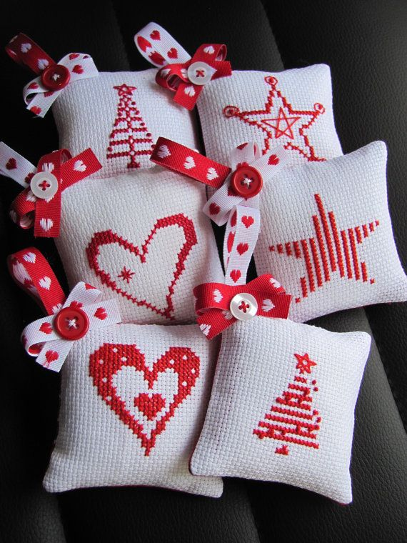 A set of 6 Cross Stitch Christmas tree ornaments