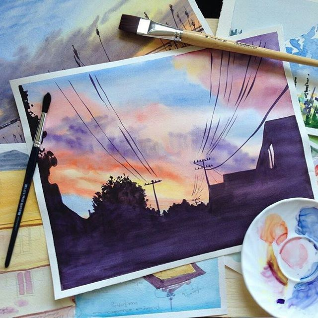 By @artvesnina.  Tag #inspiring_watercolors for a chance to be featured.  #watercolors #watercolor #watercolorpainting #aquarelle #painting #watercolorartist #art #artist #inspiration #beauty #beautiful #sketch #illustration #artwork #watercolour #watercolorsketch #sunset #evening