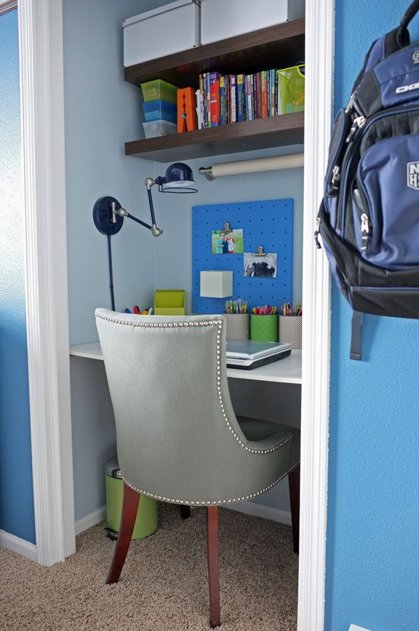 Convert closet to a study to maximise bedroom space. Good idea for when kids are teenagers