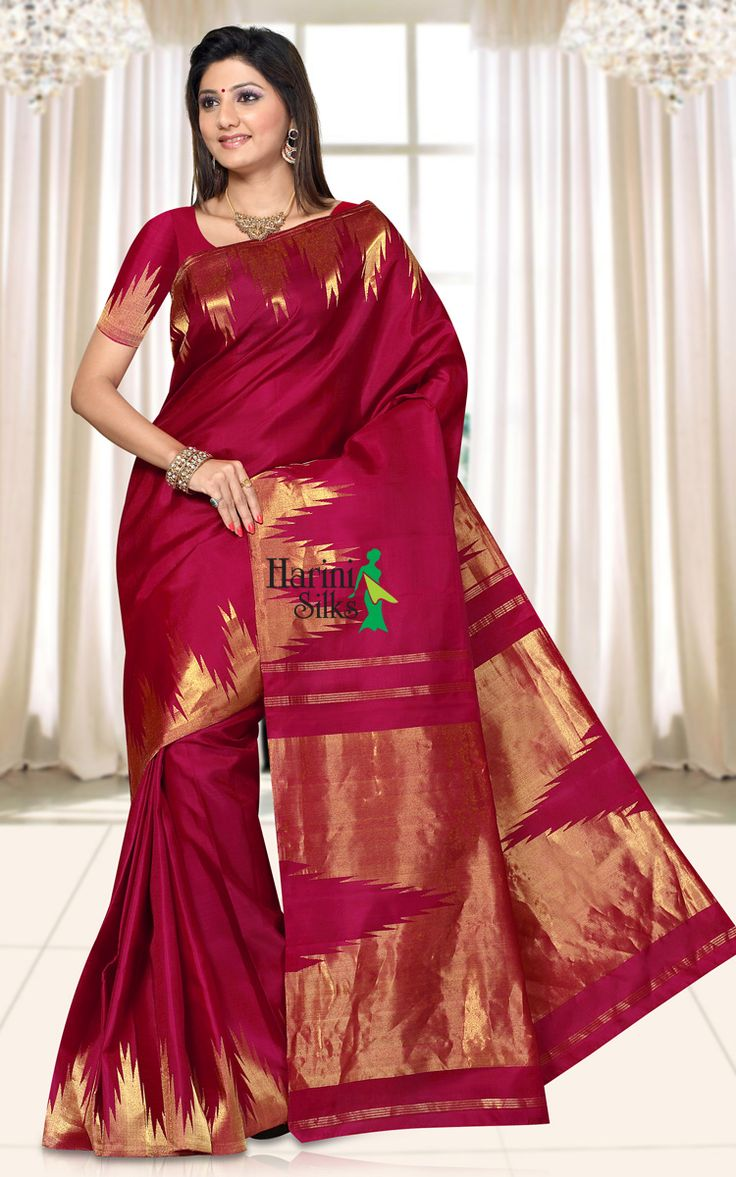 Kanchipuram Silk PK04 - Award winning exclusive designer handwoven Kanchipuram silk saree in maroon colour with intricate zari work in traditional gold temple border. This saree is done with pure jari.