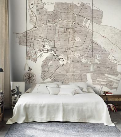 Gamla Uppsala - antique map wallpaper mural - grey/gray & white - by Sandberg