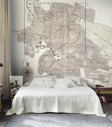 Gamla Uppsala - antique map wallpaper mural - grey/gray & white - by Sandberg