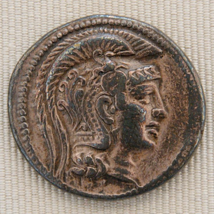 """Head of Athena with a crested helmet. Silver tetradrachm from Athens, """"new style"""" (ca. 200-150 BC), obverse."""