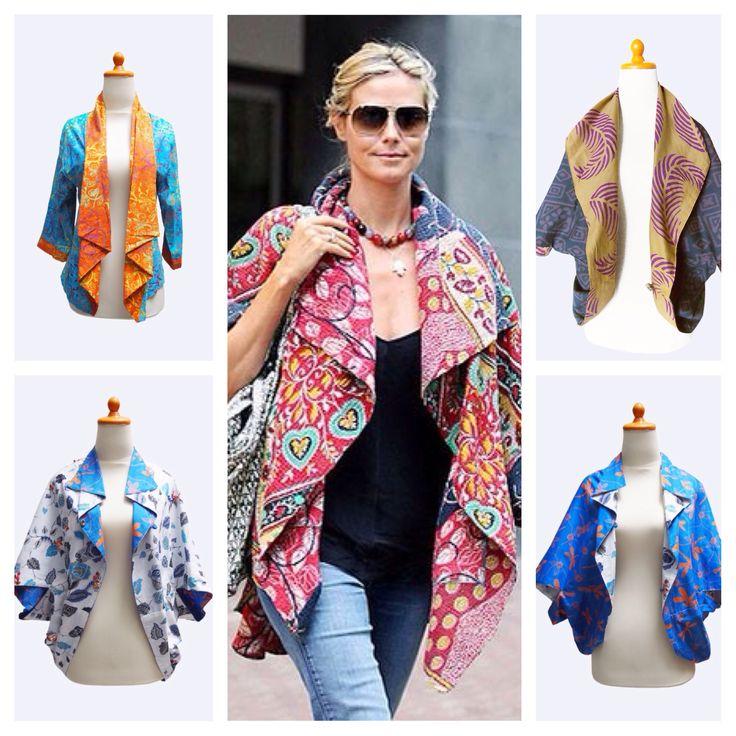 Heidi Klum's style on batik bolero, shop the look here http://www.sokashop.com/product-category/batik-collection/bolero-batik-collection/ #streetstyle #model #fashion #victoriasecret #womenfashion #womenclothing #batik