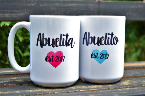 My parents are still deciding what they want to be called, but I think this is super cute, whether I get these or make something similar with whatever names they pick. - New SPANISH ABUELA ABUELO Abuelita or Abuelito by BabyCakeLane