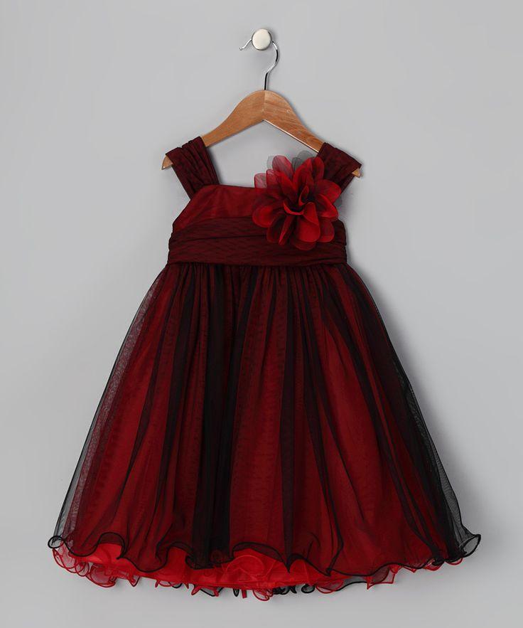 Red & Black Flower Dress - Toddler & Girls