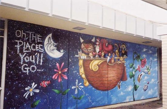 children's library mural | children's book mural, which i would love to replicate in the basement ...