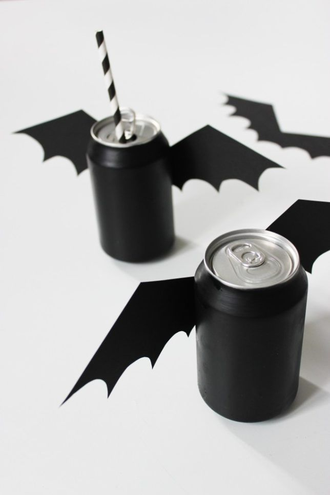 Cute idea!  Halloween bat covers for pop cans.   #halloween #halloweenparty