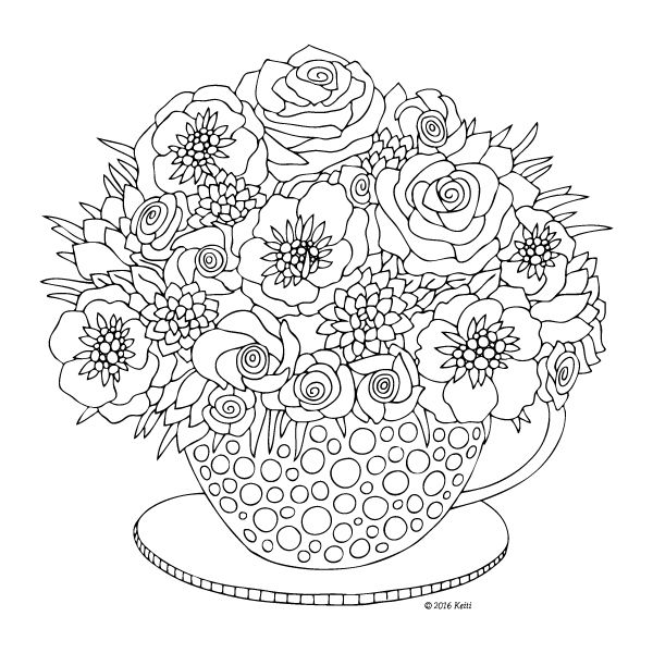 Flowers In A Cup Coloring Page By Keiti