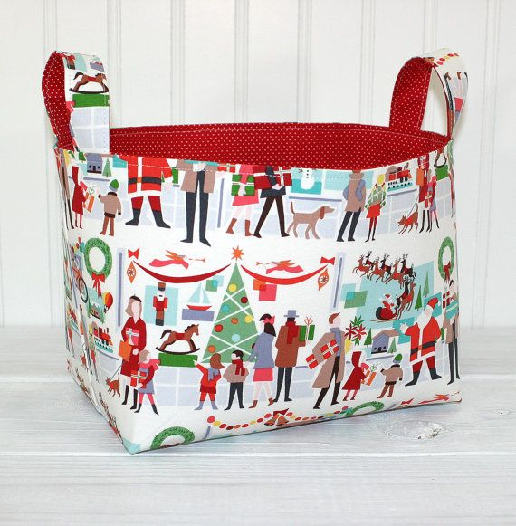 Gift Basket, Storage, Fabric Bin, Christmas Storage, Holiday, Modern Christmas Decor - Christmas in the City