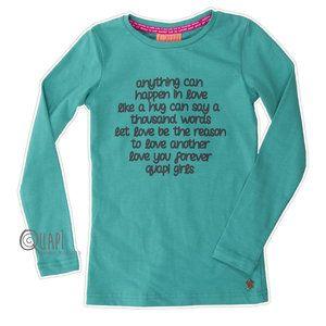 #Quapi #Anja #Groen  Gaaf groen shirt uit de wintercollectie 2014/2015 van het merk Quapi Kidswear.  www.lotenlynn.nl