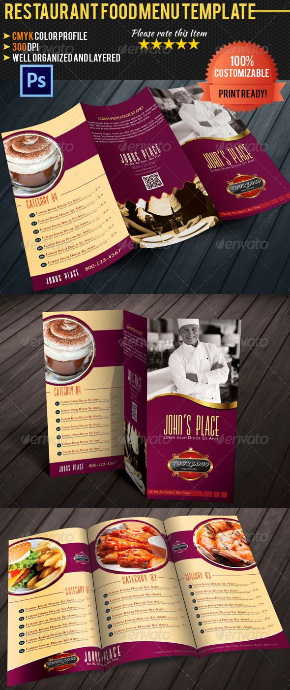 Best Trifold Restaurant Menu Template Images On Pinterest - 3 fold menu template