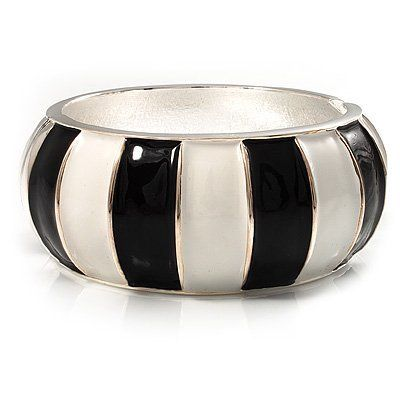 Black & White Segmental Wide Enamel Hinged Bangle (Silver Tone) - 3.2cm Width Avalaya. $24.75. Metal Finish: silver plated. Material: enamel. Wear On: wrist. Occasion: casual wear, cocktail party, going to theatre. Type: chunky