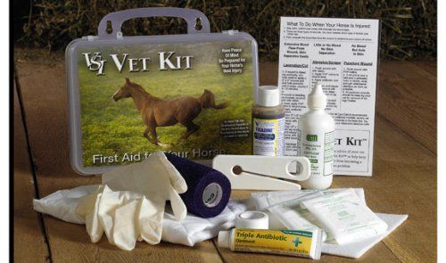 Vet Kit First Aid Kit - Hard Plastic Shell by Rustic Ranch Tack. Save 2 Off!. $39.99. For Human use as well!. Weatherproof. First Aid can mean life or death while waiting for a Vet.. Horse First Aid Kit. Complete Kit firts under seat of truck or in saddle bag. This weatherproof travel kit includes 14 of the most recommended items that you need to treat wounds and eye injury. Convenient snap-lock hard pack includes water-resistant Care Card that provides valuable information for h...