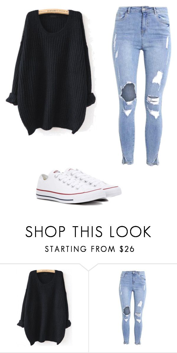 """Sin título #110"" by camu-irwin on Polyvore featuring moda, WithChic y Converse"