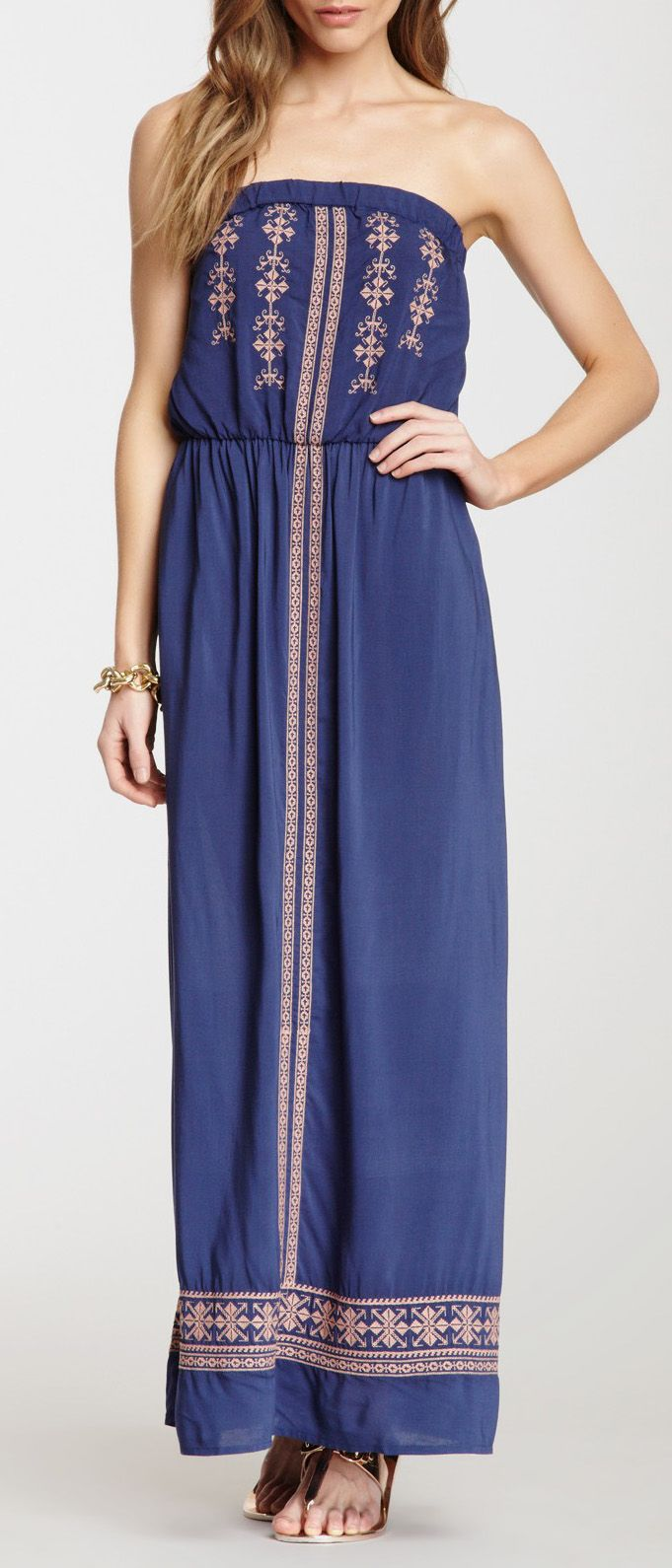 Love Stitch Strapless Embroidered Maxi Dress