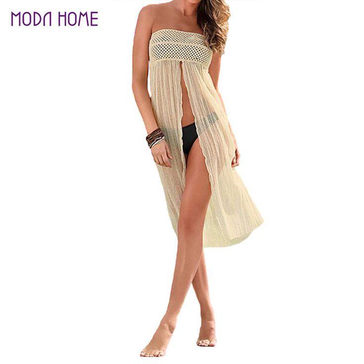 Summer Dress 2016 Women Beach Dress Floatsuit Mesh Hollow Crochet Lace Dress Women Beachwear Beige Sun-proof Blouse