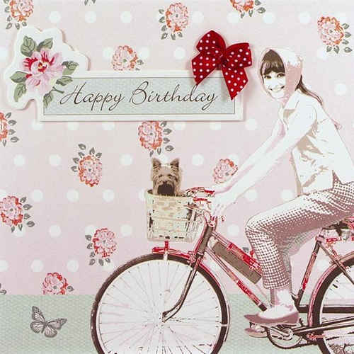 Simply Darling Audrey on Bike Happy Birthday Card