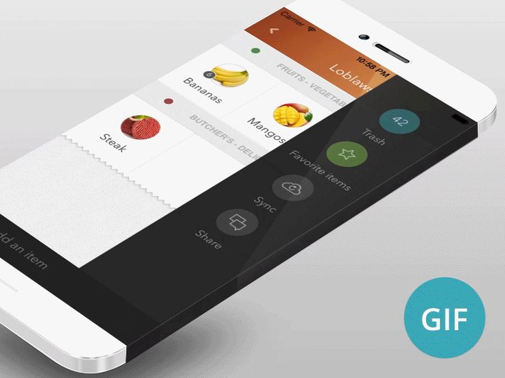 """Just a shot to show you the current animations of my app """"iCanShop Next"""" . I was curious to see how it looks on a iPhone Concept. This show you :  ✔ A grid view for items (better visual recognition..."""