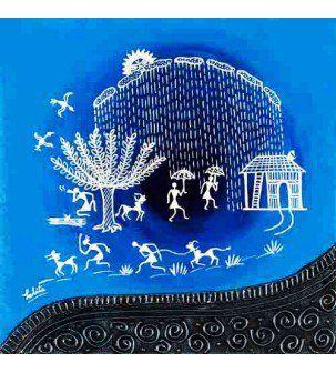 Its Raining Warli Painting