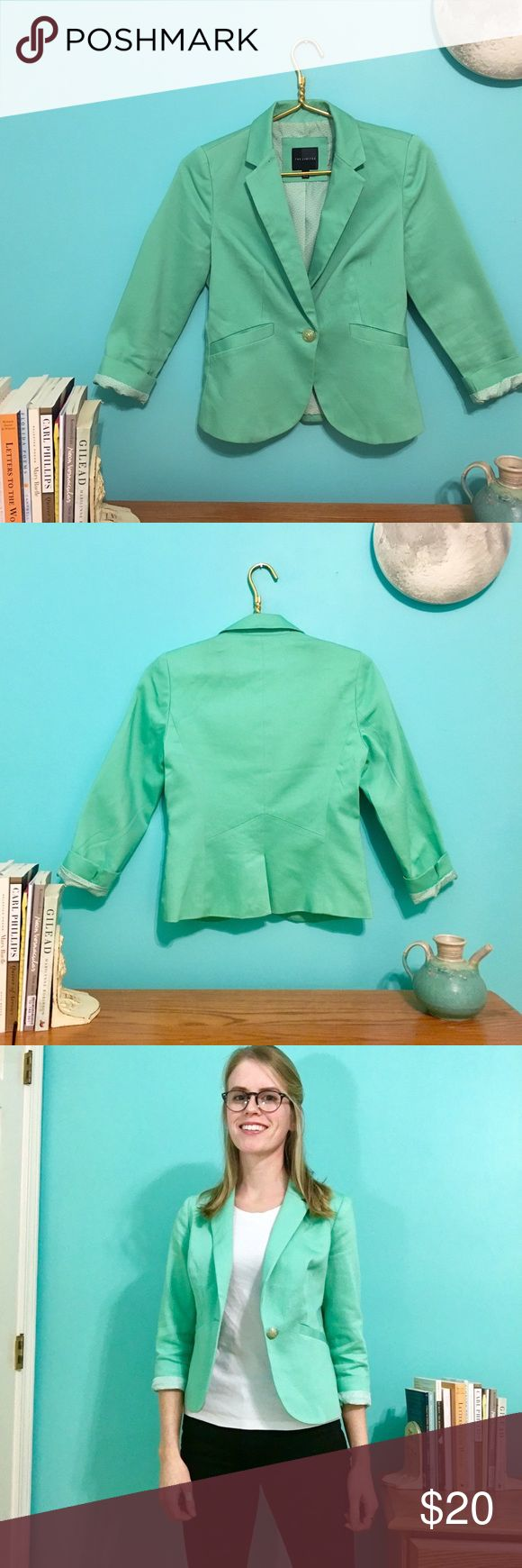 The Limited mint green blazer This mint-green blazer is a personal favorite. It looks great with just about anything, but I love it with black pants. The 3/4 length sleeves keep it fresh. Discounted for the faint marks on the left panel. Dry clean only. The Limited Jackets & Coats Blazers
