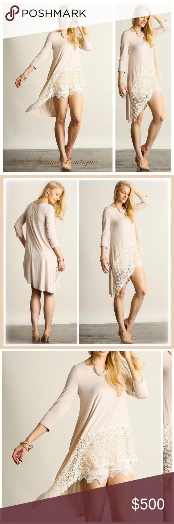 ✨Coming Soon✨Asymmetrical Lace Tunic •Oatmeal• Absolutely gorgeous tunic with asymmetrical lace hemline in a beautiful neutral cream color....Classic piece that can be worn any time of year. Lightweight and cotton blend, will be comfortable and lovely to wearNO TRADESPRICE WILL BE FIRM UNLESS BUNDLED25% OFF BUNDLES {Limited Time}  Like this listing to be notified of arrival LDB Tops Tunics