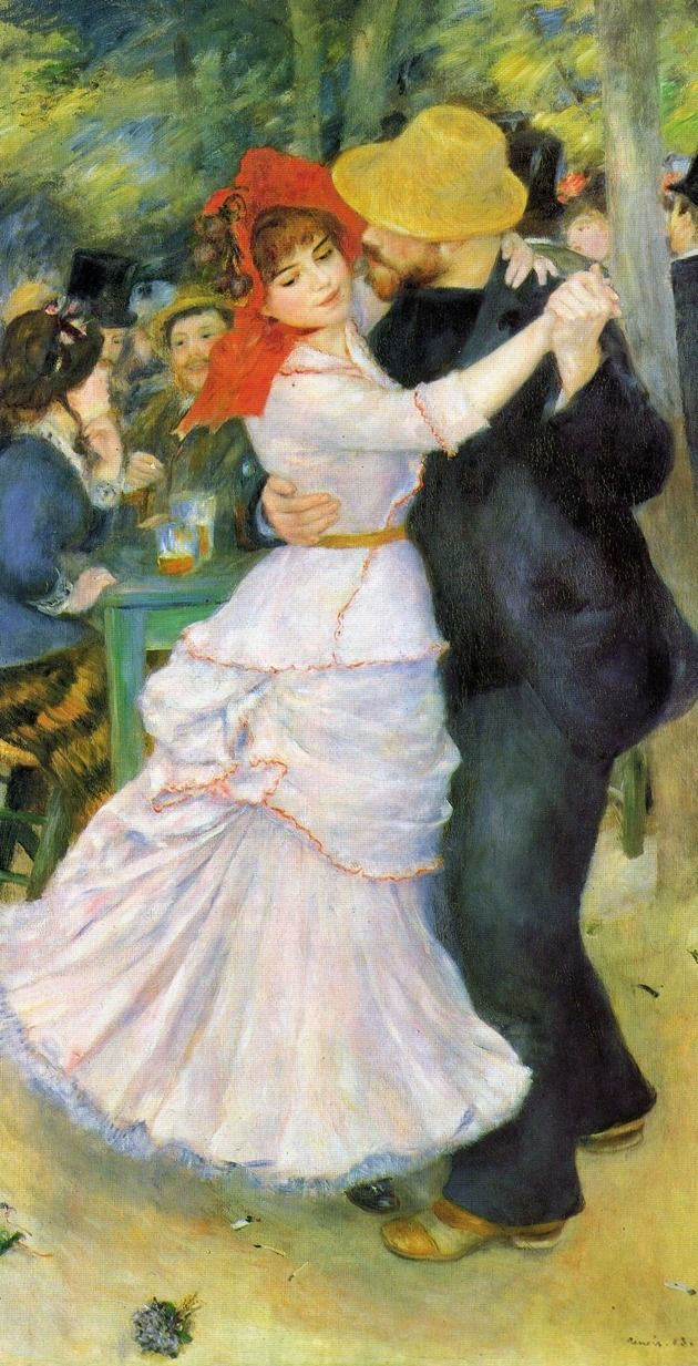 Pierre-Auguste Renoir (French 1841–1919) [Impressionism] Dance at Bougival, 1882–1883, (woman at left is painter Suzanne Valadon), Boston Museum of Fine Arts.