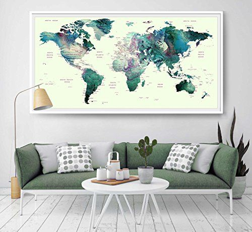 39 best amazon world map images on pinterest mapas del mundo world map watercolor print world map wall art home decor https gumiabroncs Images