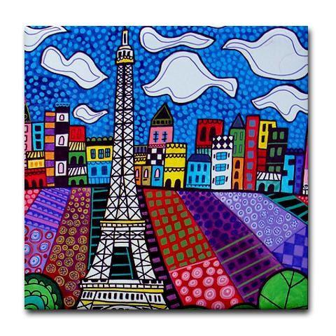 Paris France Art Tiles - Eiffel Tower - Ceramic Tile Art - Cityscape City Art -Modern Abstract Print on Coaster. $20.00, via Etsy.