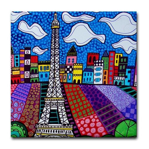 Paris France Art Tiles - Eiffel Tower - Ceramic Tile Art - Cityscape City Art -Modern Abstract Print on Coaster. $20.00, via Etsy.