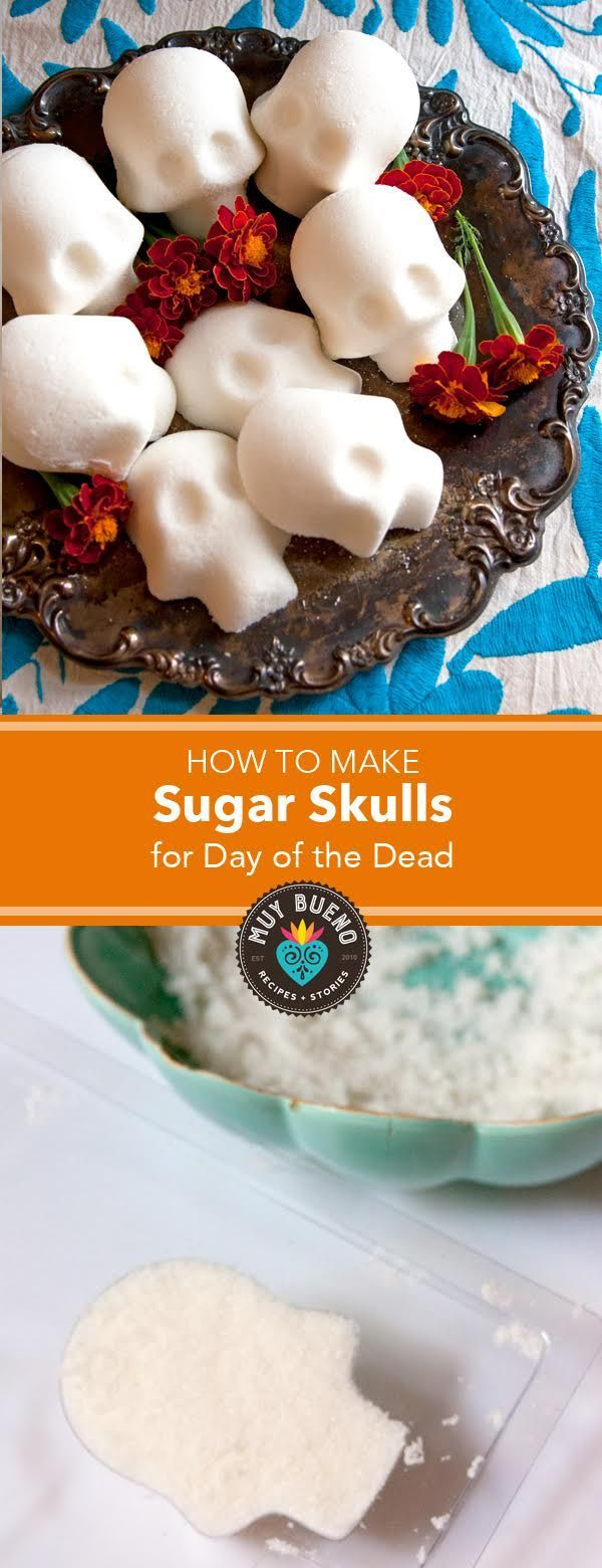 How to Make Sugar Skulls for Day of the Dead + Video - Muy Bueno Cookbook  I love to celebrate Dia de los Muertos (Day of the Dead). When I celebrate this holiday I feel my ancestors closer.  Before you decorate sugar skulls to honor your loved ones, you need to learn how to make sugar skulls. Here is a short video to show you how easy it is to make them at home.