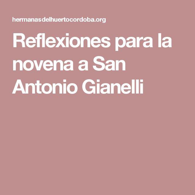 Reflexiones para la novena a San Antonio Gianelli