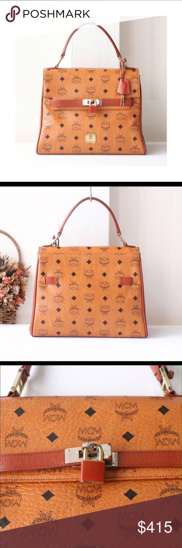 MCM Visetos Cognac Vintage Kelly Tote Handbag Brand New 100% Authentic MCM Bag Visetos Cognac Germany Brown Vintage Authentic Tote Kelly Handbag Purse MCM Bags Totes
