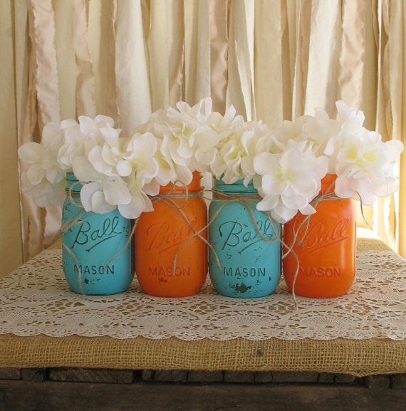 Mason Jars, Ball jars, Painted Mason Jars, Flower Vases, Rustic Wedding Centerpieces, Orange and Turquoise Mason Jars