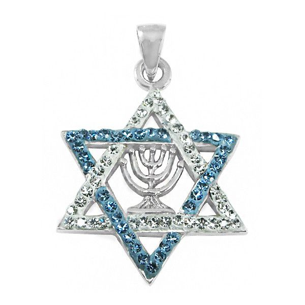 Sterling Silver & Crystal Magen David (Jewish Star) Pendant... (195 BRL) ❤ liked on Polyvore featuring jewelry, pendants, sterling silver crystal pendant, sterling silver pendants, crystal stone jewelry, star jewelry and sterling silver charms pendants