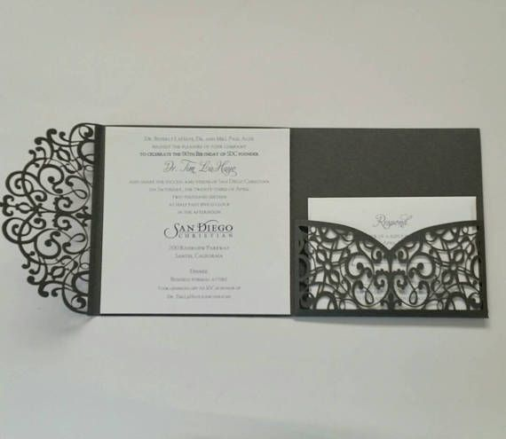 Laser Invitations Cut Invitation Pocket Suite Wedding Set Black 50 In 2018 Lace