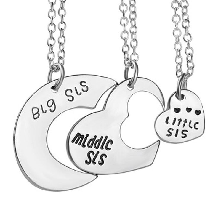 Best Friends necklace for 3 Big Sister Sis Middle Sister Sis Little Sister Sis Heart Charm Pendant Necklace Family Jewelry