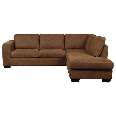Buy John Lewis Felix Leather RHF Corner Sofa, Dark Legs Online at johnlewis.com