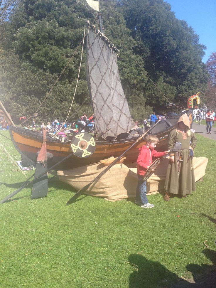 Viking reenactment...battle of Clontarf......Brian Boru.... Viking boat....