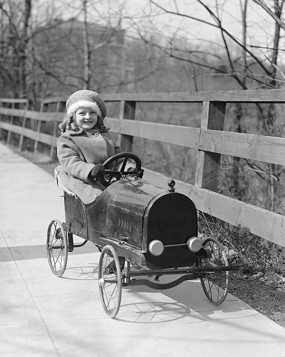 Little Girl Driving Pedal Car 1922. Vintage Photo by HistoryPhoto. Such charming childhood image.