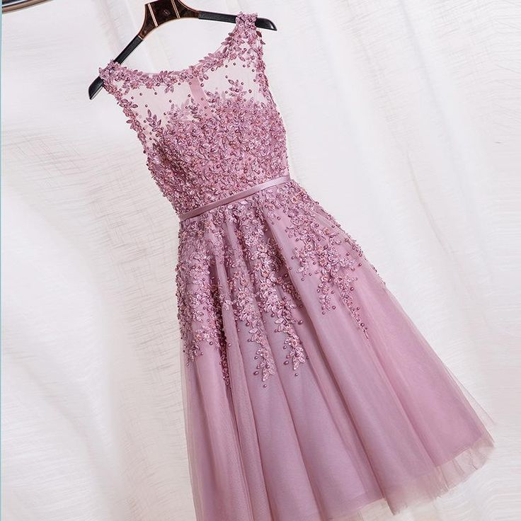 Robe De Soiree Pink Lace Short Evening Dresses Embroidery With Beaded Sexy Backless Fashion Party Bride Prom Formal Dress Ladies Occasion Dresses Long Black Evening Dress From Hellojodie, $85.93| Dhgate.Com