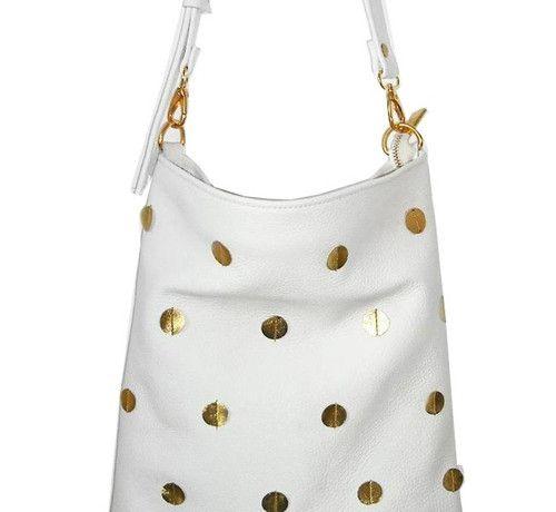 Bílá kožená kabelka SMALL GOLDEN POLKA WHITE
