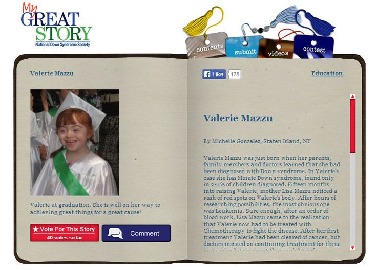 Check out June 2014 My Great Story of the Month Contest Winner, Valerie Mazzu, by Michelle Gonzalez of Staten Island, NY. Share your story at ndss.org/stories!