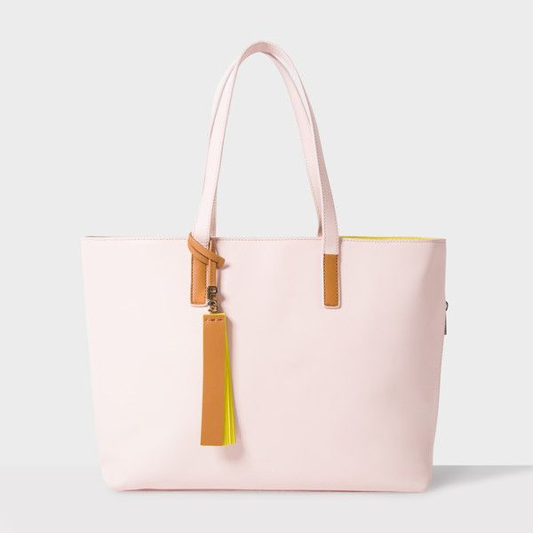 Paul Smith Women's Light Pink Leather Tote Bag ($485) ❤ liked on Polyvore featuring bags, handbags, tote bags, pink leather tote, leather handbags, zip tote bag, leather tote purse and zippered leather tote