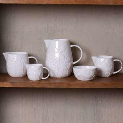 Relief Patterned Bone China Jugs by Repeat Repeat #gifts #china #mugs #kitchenware