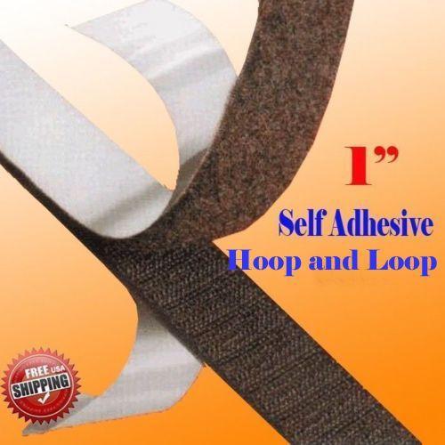 "1"" X 5 Yards 15 Ft Black Self Adhesive Hook And Loop Fastener 25Mm Sticky Back"