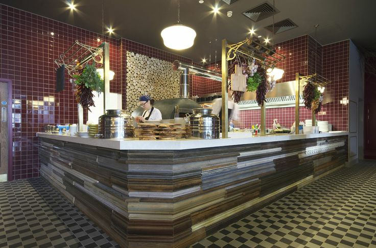 Signature fire wood oven + kitchen area | Zizzi Manchester Piccadilly, 2014
