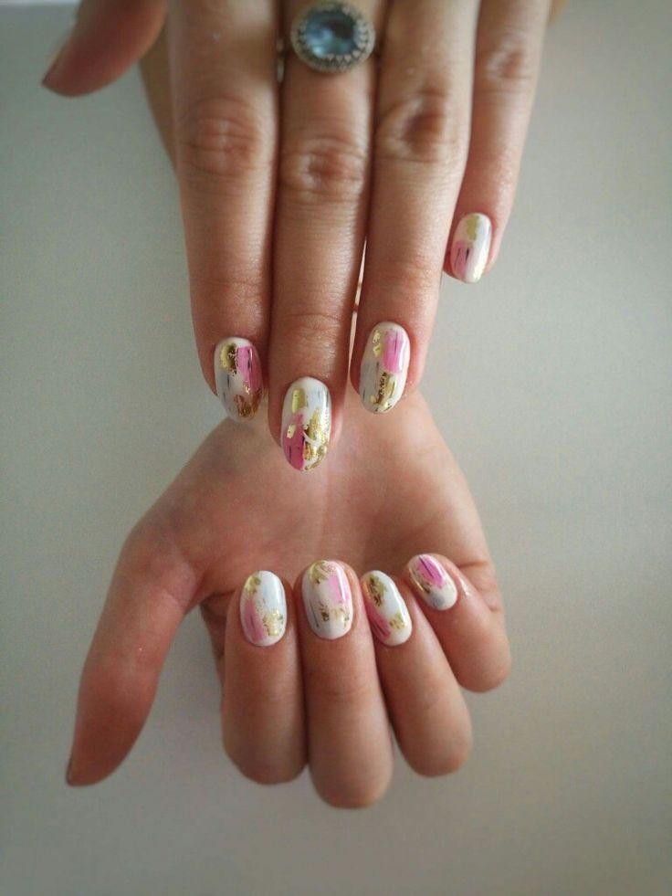 #nails #gold #pink #Blue #nailsart #nailsdesign