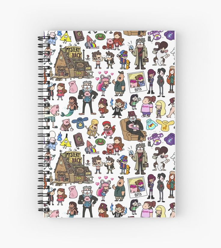 Cute Tribute Doodle to one of my all time favorite Cartoons – Gravity Falls! / With all the characters, like Mabel, Dipper, Waddles, Grunkle Stan, Wendy and many more! A fun pattern for every Gravity Falls FAn • Also buy this artwork on stationery, apparel, phone cases, and more.