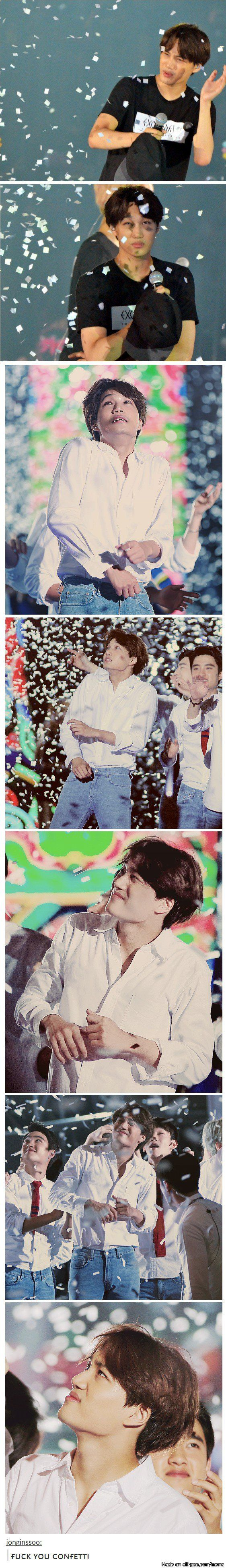 Kai vs. confetti XD. I love this! This is the complete opposite of Chanyeol, who absolutely loves confetti.